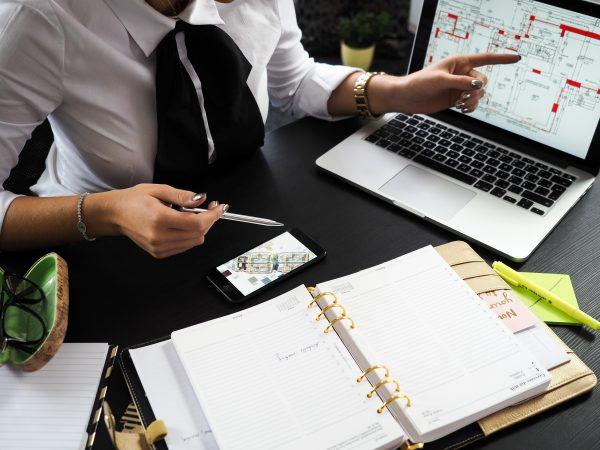 Une agente d'immeubles montrant quelque chose à l'ordinateur à son client.